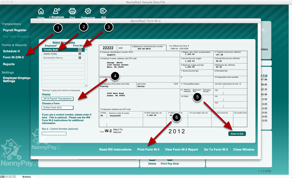 Printing Federal Form W-2 and W-3